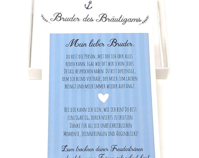 Wedding gift brother of groom, handkerchief for tears of joy, gift mourners, siblings, wedding gift, guest gift