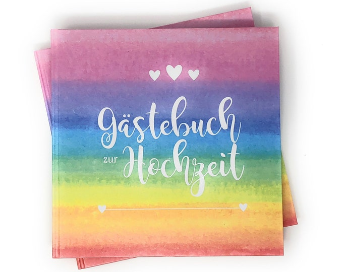 Guestbook for the wedding, guestbook with questions, wedding guestbook, personalized guest book for the wedding, rainbow wedding