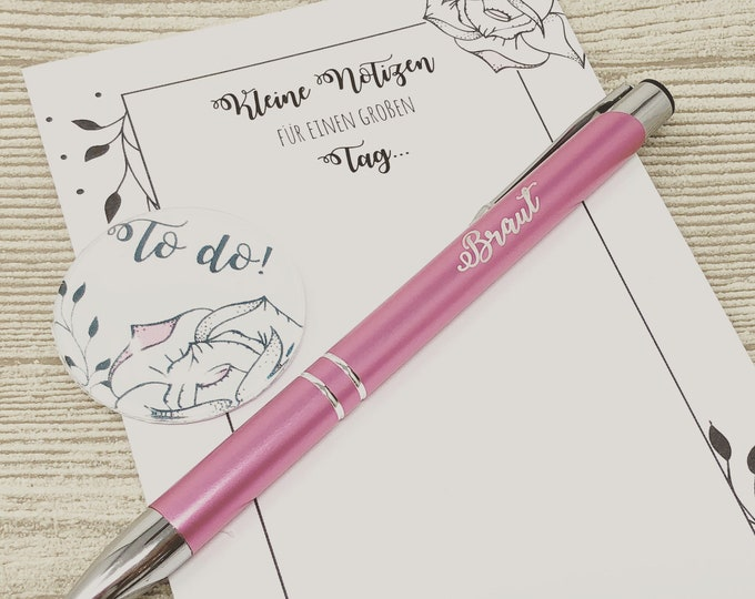Gift for the bride, pen with engraving bride, fridge magnet and notepad, all for the wedding, wedding planner