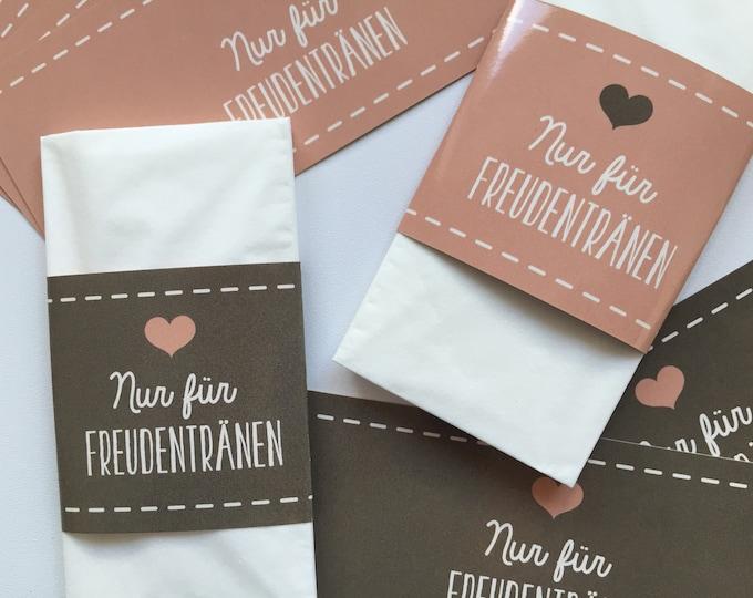 Bands for Tears of joy, bands for handkerchiefs, delights bands, Hochzeitsdeko, Church booklet, guest gift wedding