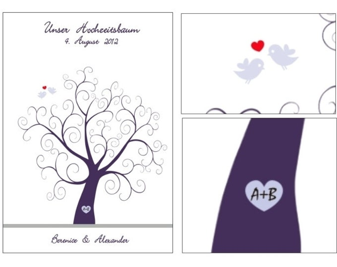 "Stamp Me Wedding Tree ""curly love"" (PDF)"