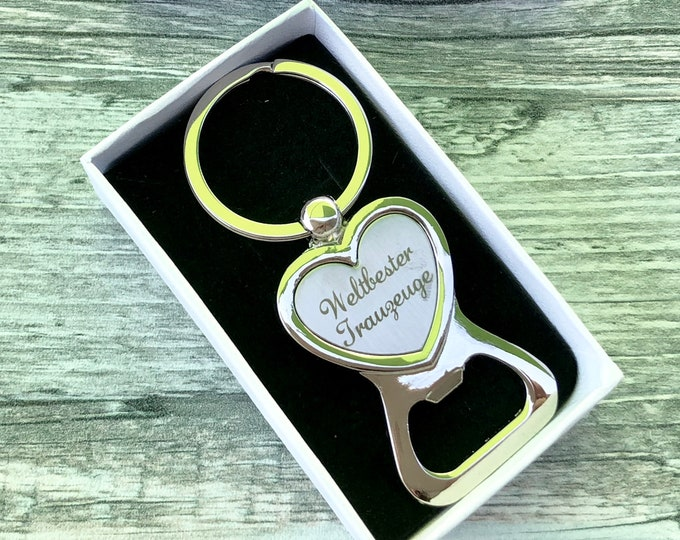 Wedding gift for the witness-bottle opener with engraving in high-quality gift box