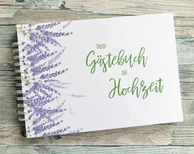 Wedding Guestbook, guestbook with questions, wedding guestbook, personalized guestbook for wedding, guest employment, lavender