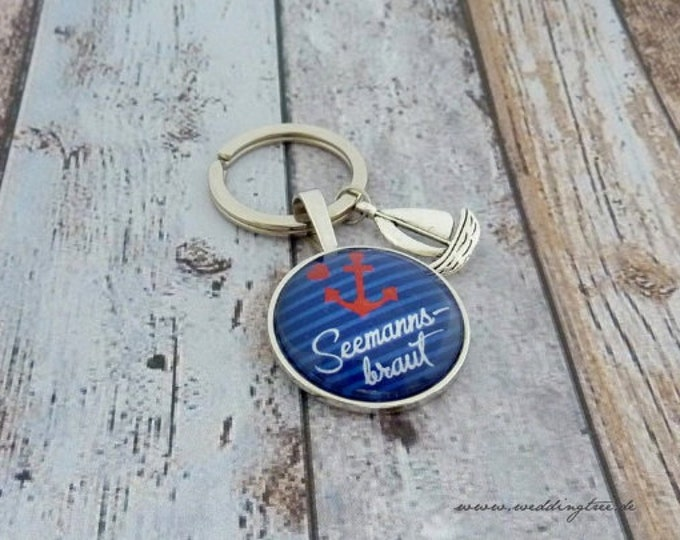 Gift bride, individual keychain, keychain gift to wedding, anchor, maritim, guest gift, sailor's bride, sail