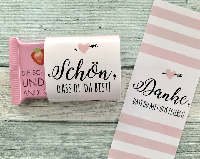 Wedding gift, chocolate bands, chocolate bands, Hochzeitsdeko, table decorations, candybar, wedding guest Gift