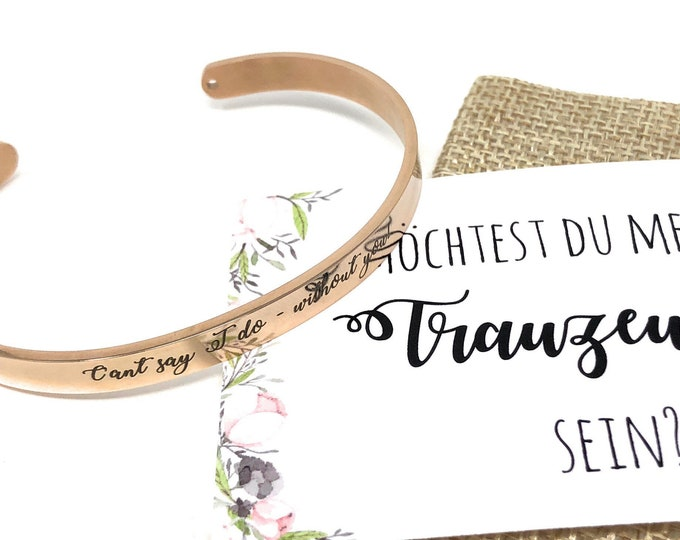 Wedding Gift Witness bracelet with engraving, card and jute bag-you want to be my maid?