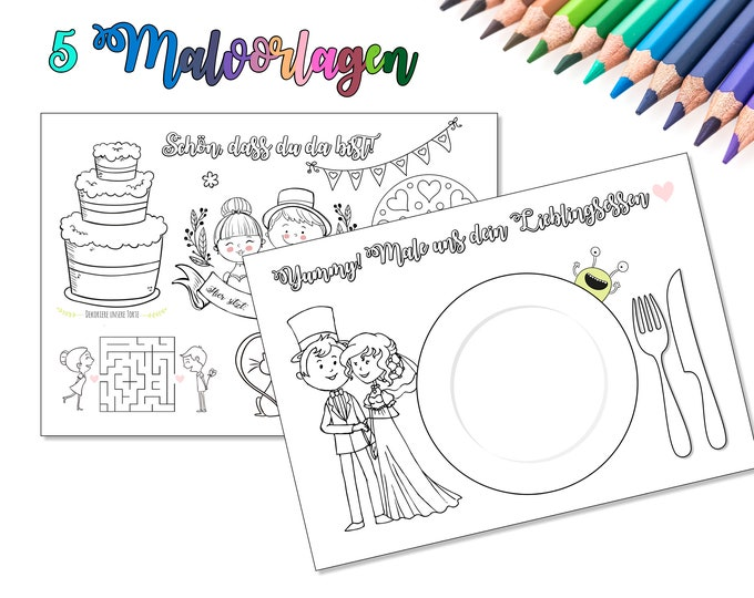 5 coloring pages for wedding, children's employment at the wedding, wedding coloring book, guest gift for children to the wedding, guest employment