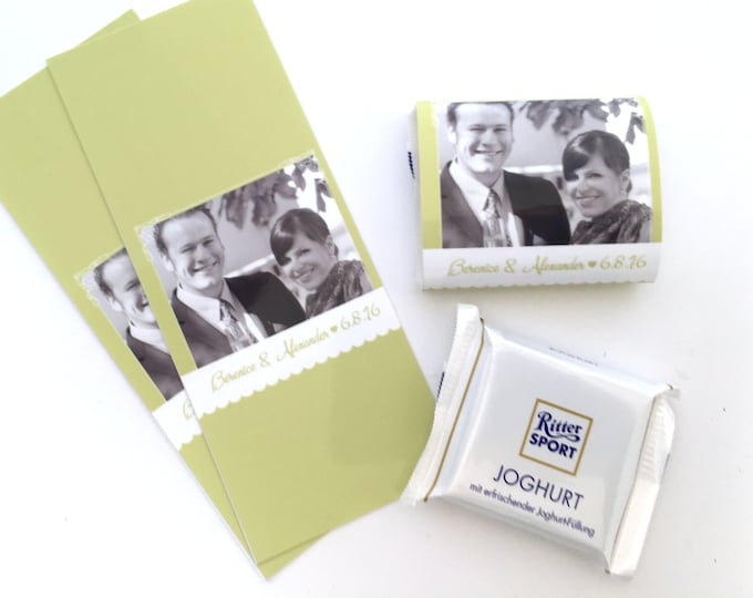 Guest gift for wedding 100 individual chocolate bands, wedding gift, chocolate bands, chocolate bands, photo