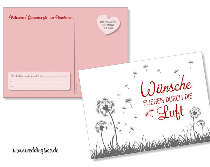 50 balloon flight cards, pusteblumen, red, wishes for the newlyweds