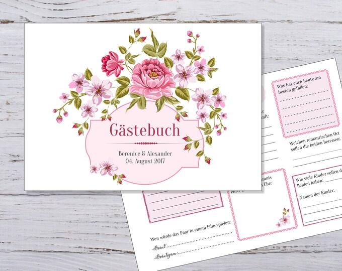 Gästebuch zur Hochzeit, Gästebuch mit Fragen, Hochzeitsgästebuch, personalisiertes Gästebuch zur Hochzeit, Gästebeschäftigung, PDF