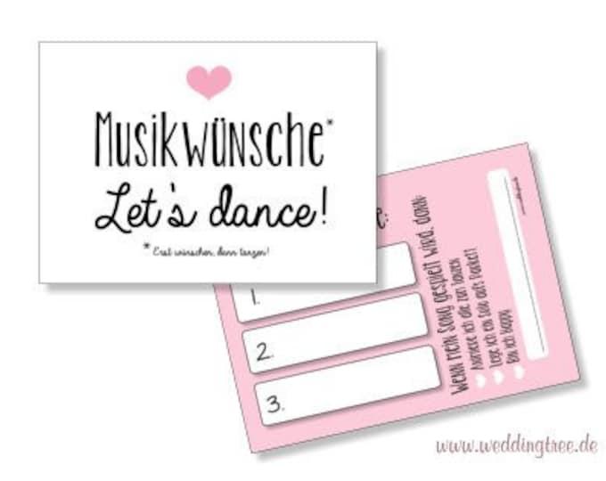 Wedding 50 Music Wish cards-pink heart-Hochzeitsdeko