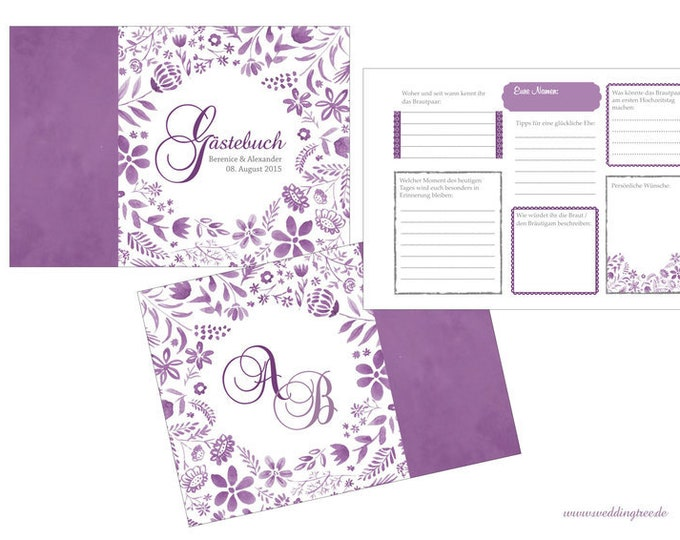 Gästebuch mit Fragen an die Hochzeitsgäste (PDF)