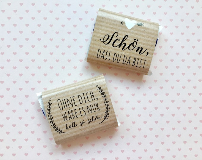 Wedding gift, chocolate bands, chocolate bands, Hochzeitsdeko, table decorations, candybar, wedding guest gift, kraft paper