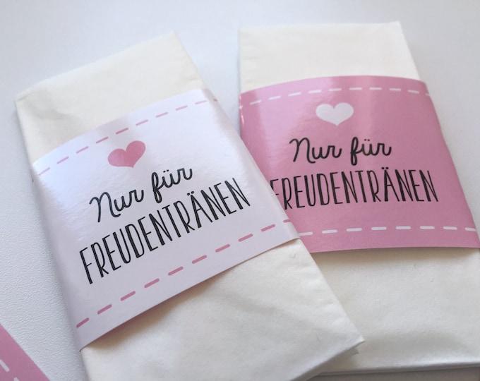 Guest gift wedding, bands for Tears of joy, bands for handkerchiefs, Tears of joy, Hochzeitsdeko, Church booklet