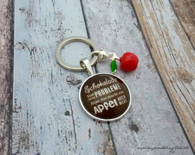 Pendant Chocolate, Key, Keyring, Apple, Gift Girlfriend, Keyhandover, New Apartment, Home