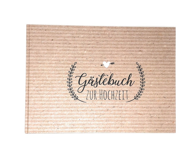 Wedding Guestbook, guestbook with questions, wedding guestbook, personalized guestbook for wedding, guest employment, Kraft paper