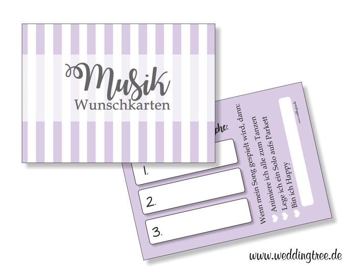 50 Music wish cards for the wedding