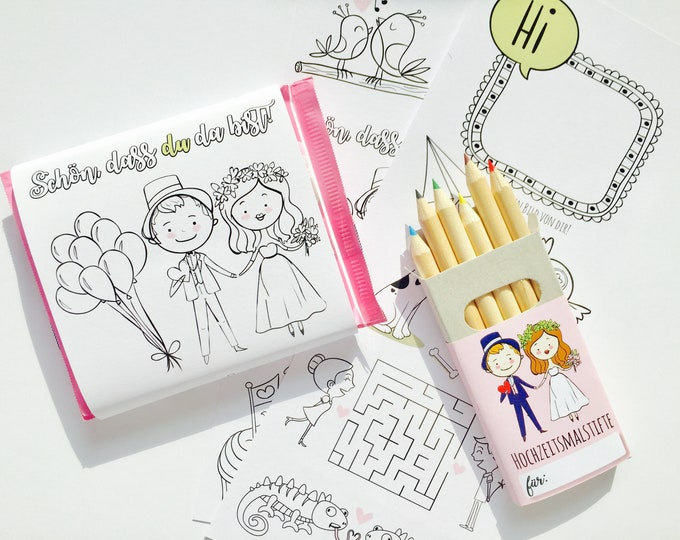 Wedding gift, coloring page Chocolate band with crayons, guest gift for children, children's employment wedding, wedding bag