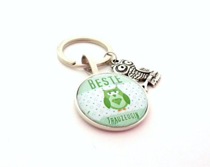 Gift Trauwitness, Keyring, Gift Girlfriend of the Bride, Owl, Sweet, Gift to Wedding, Best Girlfriend, Say Thank You,