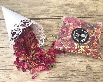 Flower confetti - table decoration for the wedding or for flowering when extracting