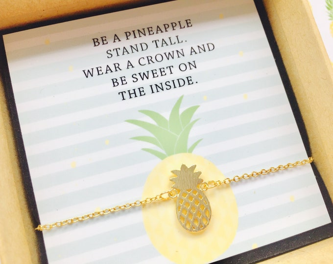 Gift Wedding Witness Bracelet Pineapple Golgfarben