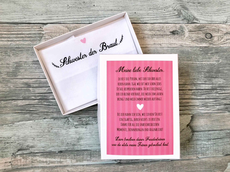 Gift sister of the bride or groom, handkerchief for tears of joy ...