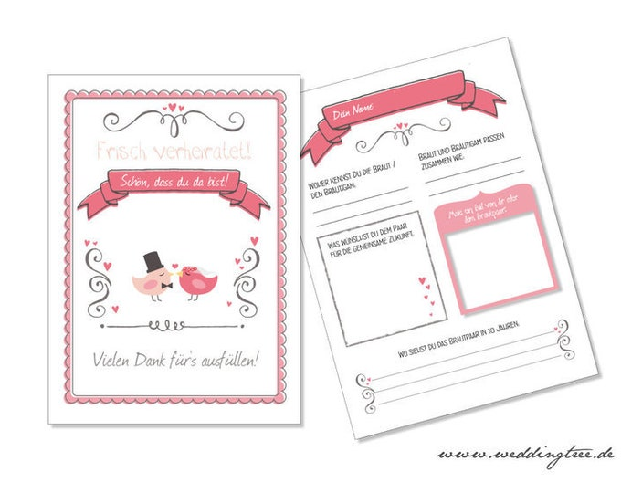 Guestbook cards to the wedding-50 pieces the slightly different guestbook