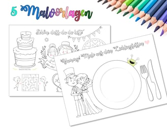 5 coloring pages for the wedding, children's employment at the wedding, wedding coloring book, guest gift for children at the wedding, guest activity