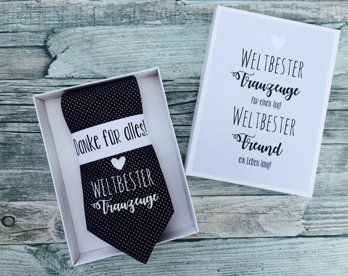 """Wedding gift for the witness-black tie with imprint """"World's Best Man"""""""