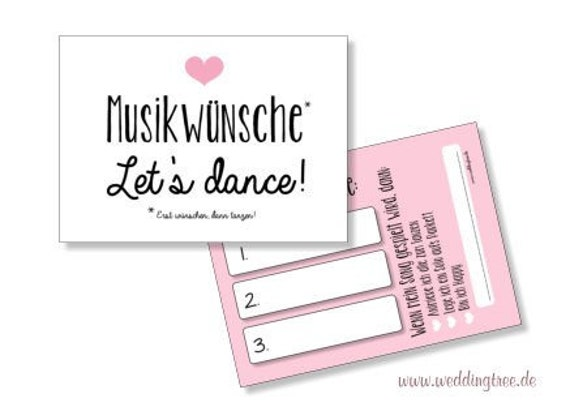 Musikwunschkarten | rosa Herz
