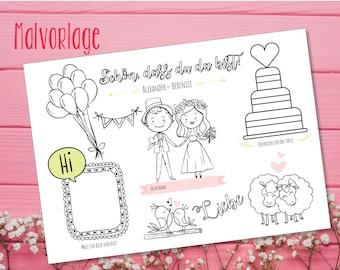 Malvorlage PDF - Hochzeit Gastgeschenk