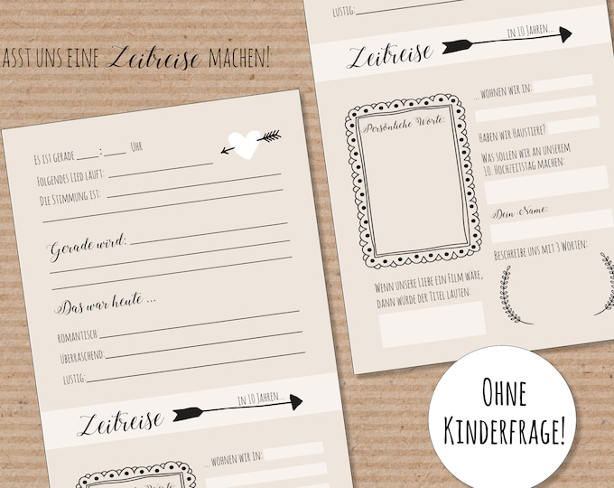 Wedding Game time Travel-Guestbook Wedding-50 period capsule cards-letters in the future