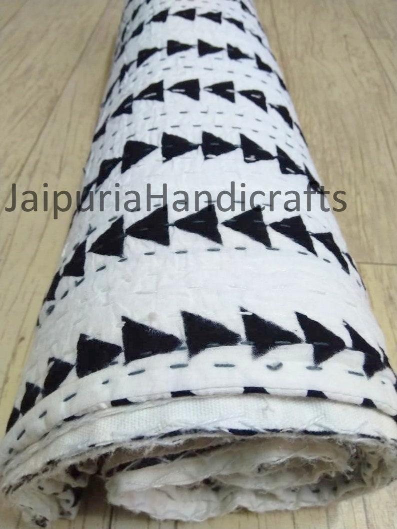 Block print quilt stripped kantha Handmade HandStitched Patchwork Vintage Kantha Quilt Hand-Stitched Queen Kantha Throw Cotton Blanket