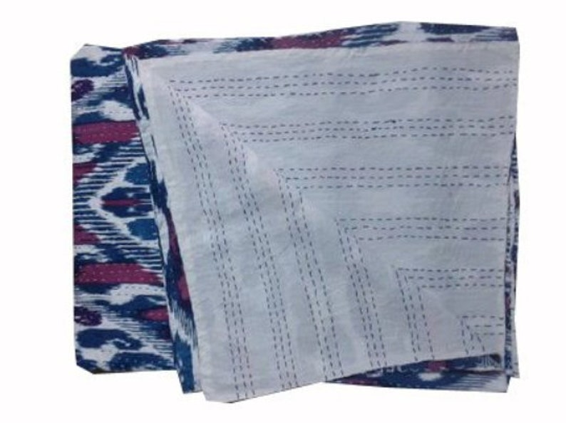 New ikat india print Kantha Quilt Indian Hand Stitched Muslin Voile Fabric Natural Cotton Traditional Blanket Shabby Chic Bedding