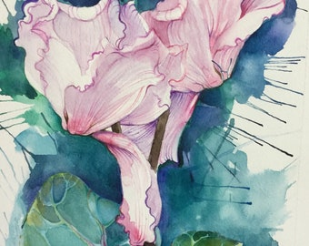 Watercolor flowers/watercolor floral/Cyclamen flowers/watercolor painting
