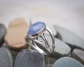 Blue Lace Agate Ring, Argentium Silver Handmade Ring, Statement Design