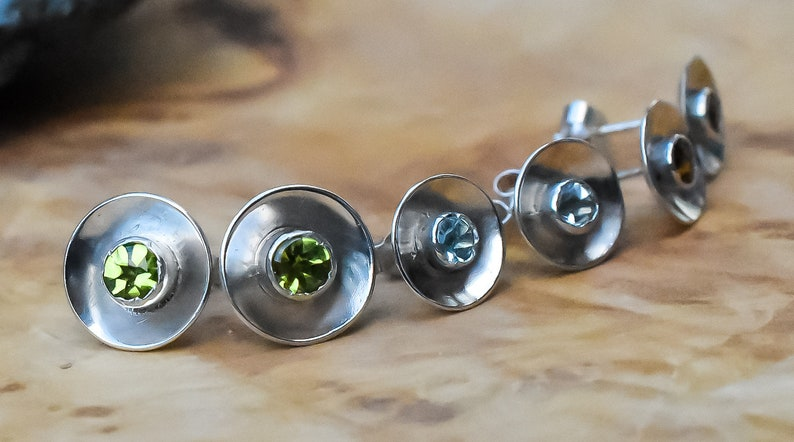 Sterling Silver Domed Stud Earrings Handmade Blue Topaz Gemstone Studs Sky Blue Topaz Studs