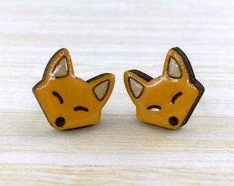 Hand Painted Fox Wooden Earrings