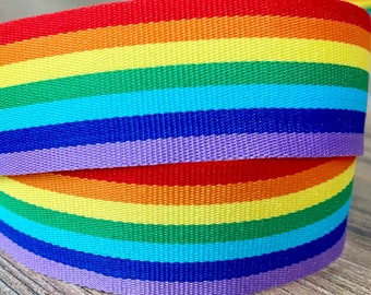 Grosgrain Pastel Rainbow with Colourful Hearts Ribbon 1 25mm