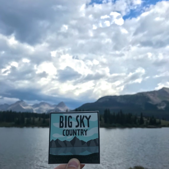 Big Sky Country Vinyl Sticker Mountains Forest Hiking Outdoors Water Bottle Laptop Car Decal Gift Idea