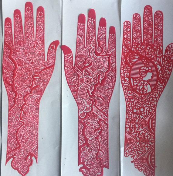 2 X Reusable Full Hand Henna Stencils Various Etsy