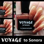 Voyage to Sonora: Tri-thermal Gold to Cinnamon Red to Burgundy nail polish