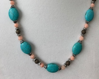 Turquoise and Peach Necklace