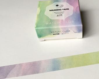 Watercolor Masking Tape Pastel Washi Tape Planner Organizer 15mm kawaii Scrapbooking 7M Stickers
