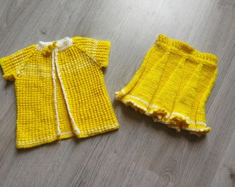 Hand knit baby girl skirt and sweater