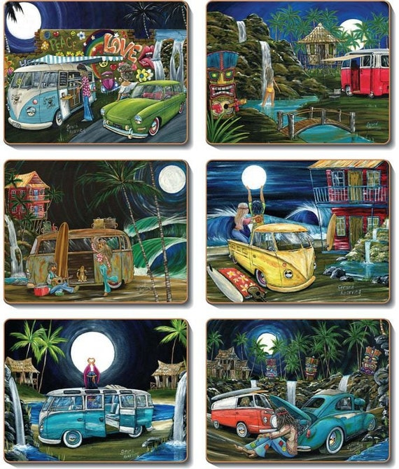 lunar lovers placemats kombi surf hippie paintings