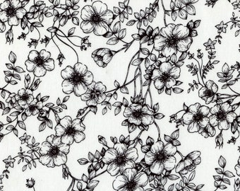 White floral fabric etsy black white floral fabric by the yard fat quarter elegant flowers fabric 100 cotton fabric quilting fabric apparel fabric yardage mightylinksfo