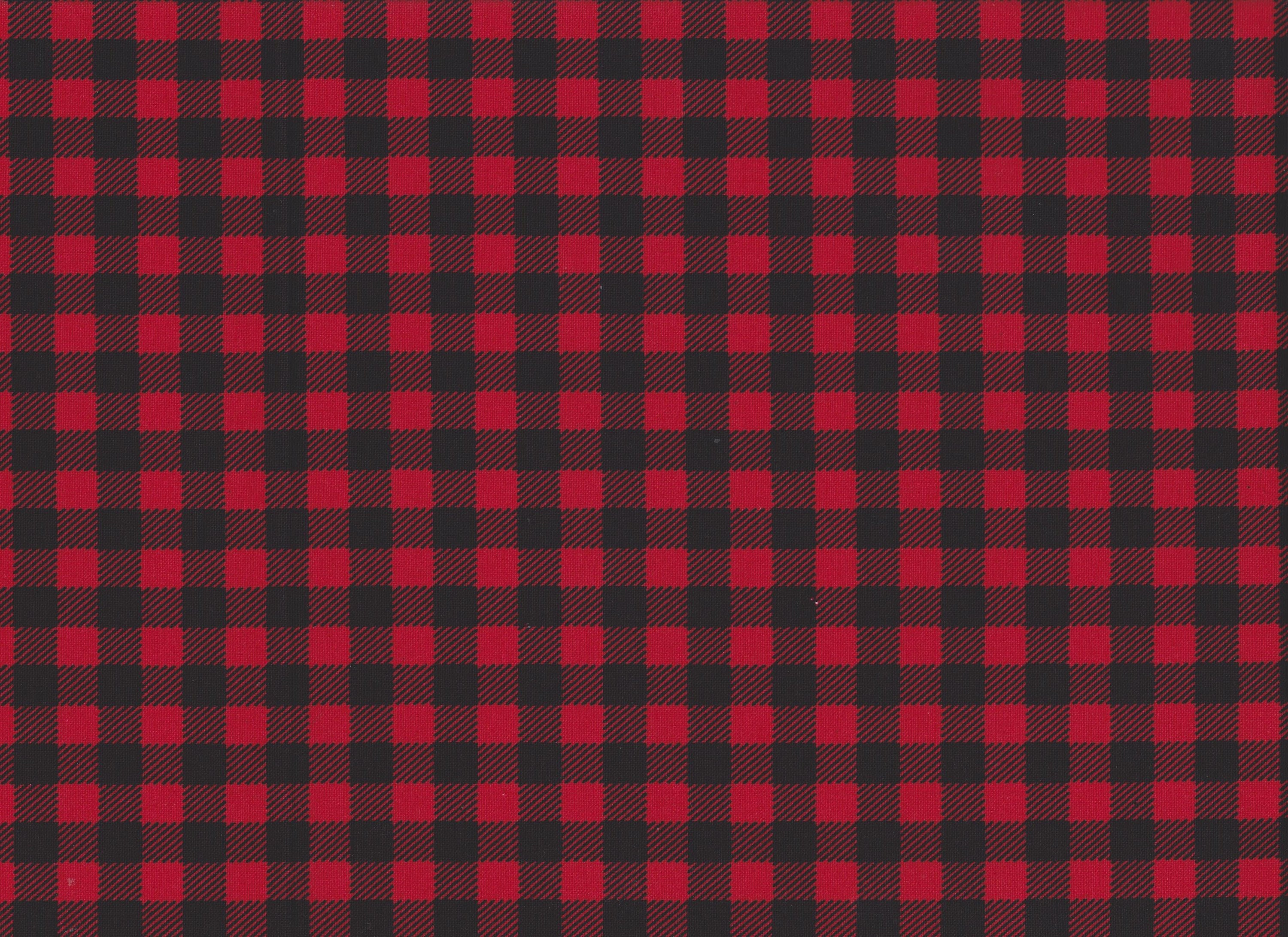 Red And Black Checkered Plaid Fabric By The Yard Fat Quarter Etsy