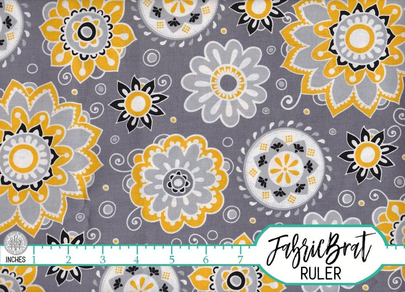 By The Yard Mustard Yellow Flowers on Gray 100/% Cotton Fabric