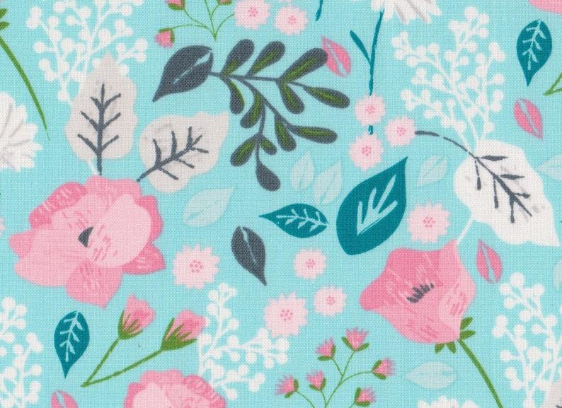 Green Fat QuarterCotton FabricPink Floral Flower FQ Rose Pretty Quilt Sew